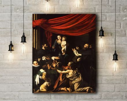 Caravaggio: Madonna of the Rosary. Fine Art Canvas.